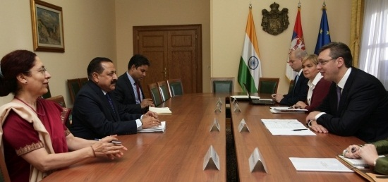 Dr. Jitendra Singh, Minister of State (PMO) meeting with H.E. Mr. Aleksandar Vucic, Prime Minister of the Republic of Serbia in Belgrade