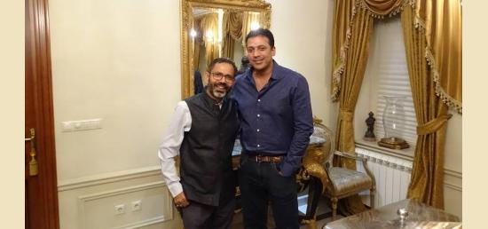 Ambassador Bhattacharjee with Mahesh Bhupathi (non playing captain)