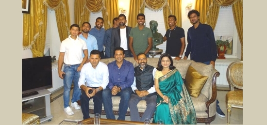 Ambassador Bhattarcharjee and Mrs Bhattarcharjee with Indian Davis Cup Team