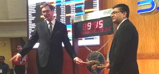 Hon'ble Prime Minister of Serbia  Aleksandar Vucic rings opening bell at Bombay Stock Exchange during his visit to Mumbai, India