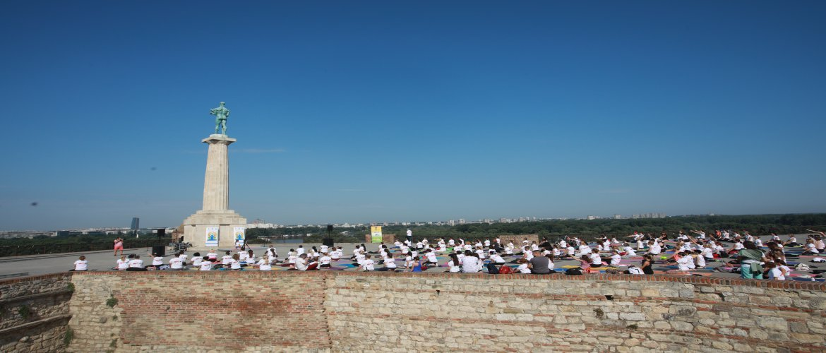 IDY 2021 celebration under Victor Statue in the famous Kalemegdan Fortress in Belgrade overlooking the confluence of river Sava and Danube (19/6/2021)