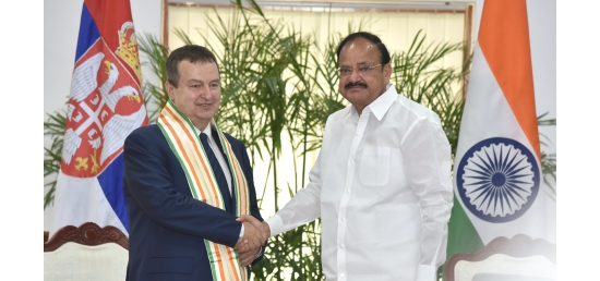 Vice President meets Ivica Dacic, Minister of Foreign Affairs of Serbia in New Delhi (May 04, 2018)