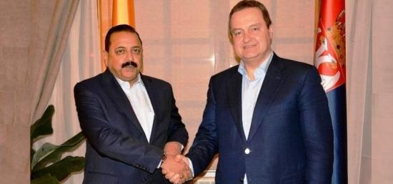 Dr. Jitendra Singh, Minister of State (PMO) meeting with  H.E. Mr. Ivica Dacic, First Deputy Prime Minister and Minister of Foreign Affairs of the Republic of Serbia in Belgrade