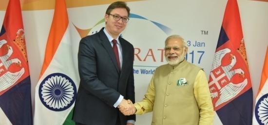 Prime Minister Narendra Modi meets Prime Minister Aleksandar Vucic of Serbia in Gandhinagar on the sidelines of Vibrant Gujarat Global Summit 2017