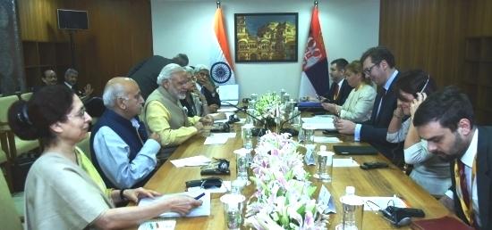 Prime Minister Narendra Modi and Prime Minister Aleksandar Vucic of Serbia hold delegation level talks  in Gandhinagar on the sidelines of Vibrant Gujarat Summit 2017