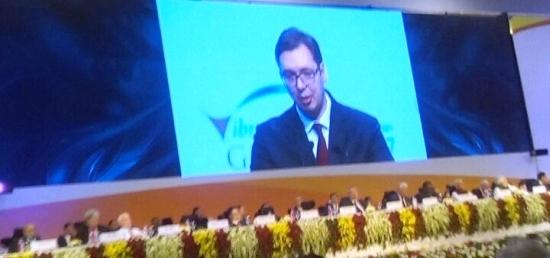 Prime Minister Vucic addressing the Vibrant Gujarat Summit