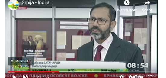 Ambassador interviewed by RTS regarding the Exhibition of Archival Documents BELGRADE-NEW DELHI: Seventy Years of Diplomatic Relations