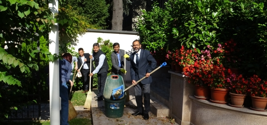 Ambassador Shri S.Bhattacharjee and members of the Embassy undertake 'Shramdan' under Swachhata Hi Sewa 2018 Programme