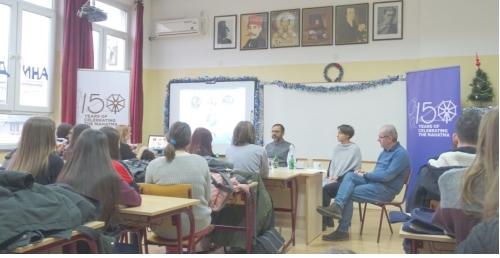 Bapu@150 celebrations - Ambassador speaking on Gandhiji at Philological Gymnasium Belgrade