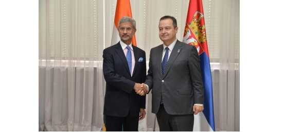 Hon'ble EAM Dr. S. Jaishankar meets First Prime Minister and Foreign Minister of the Republic of Serbia H.E. Mr.  Ivica Dačić in Belgrade