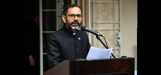 Ambassador delivering his address on India´s Independence Day, 15th August 2018