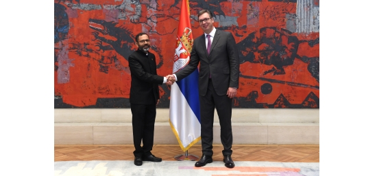Ambassador of India H.E. S. Bhattacharjee with Honorable President of the Republic of Serbia H.E. Aleksandar Vucic