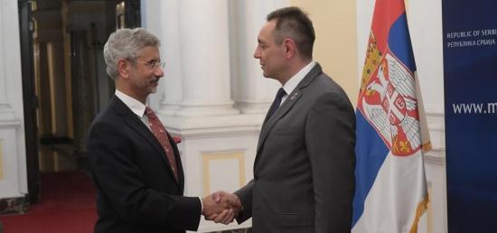 Hon'ble EAM Dr. S. Jaishankar meets H.E. Mr. Aleksandar Vulin, Minister of Defence of the Republic of Serbia in Belgrade