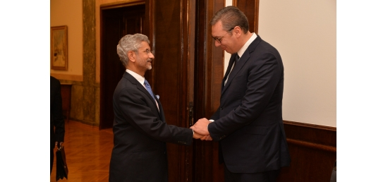 Hon'ble EAM Dr. S. Jaishankar meets H.E. Mr. Aleksandar Vučić, President of the Republic of Serbia in Belgrade