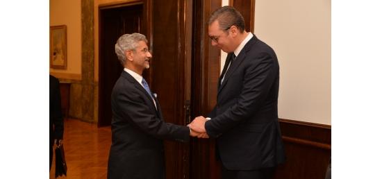 Hon'ble EAM Dr. S. Jaishankar meets H.E. Mr. Aleksandar Vučić, President of the Republic of Serbia in Belgrade