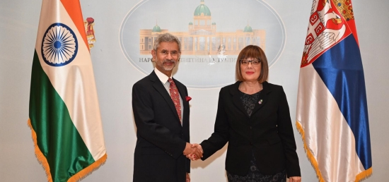 Hon'ble EAM Dr. S. Jaishankar meets H.E. Ms. Maja Gojković, Speaker of the National Assembly of Serbia in Belgrade
