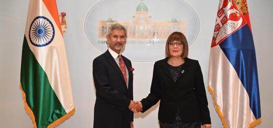 Hon'ble EAM Dr. S. Jaishankar meets H.E. Ms. Maja Gojković, Speaker of the National Assembly of Serbia in Belgrade