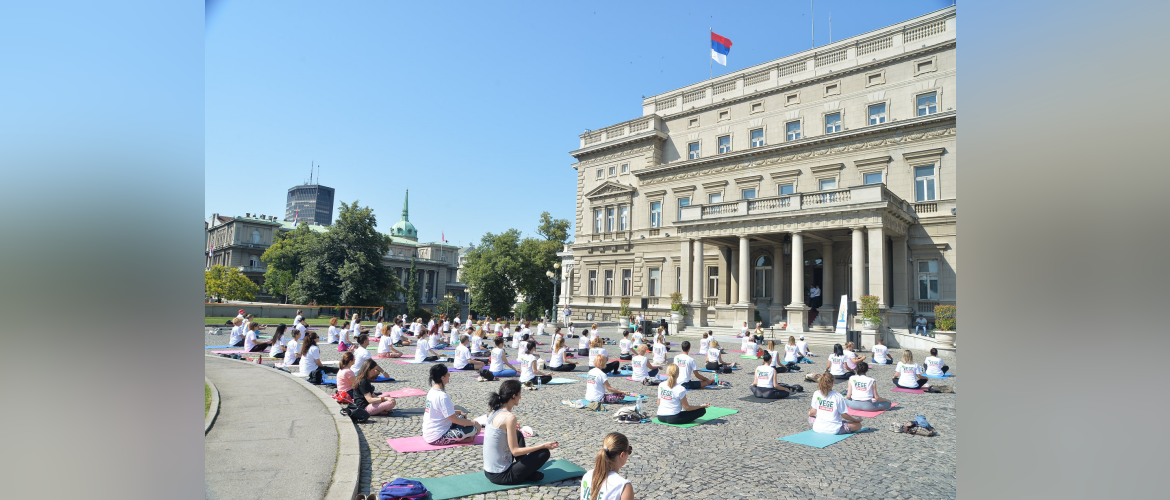 Celebration of International Day of Yoga 2020 in front of historic City Hall, Belgrade