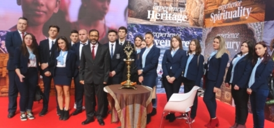 Ambassador with students visiting the Indian stall at 41st  International Tourism Fair, Belgrade