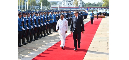 Vice President inspects Guard of honour in Belgrade during Official Visit to Serbia (September 15, 2018)
